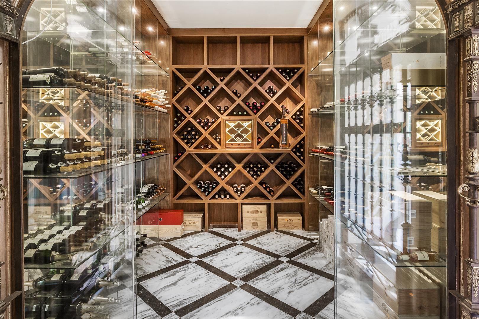 Photo of the interior of a luxury wine cellar