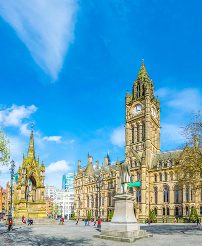 View of the town hall in Manchester, UK